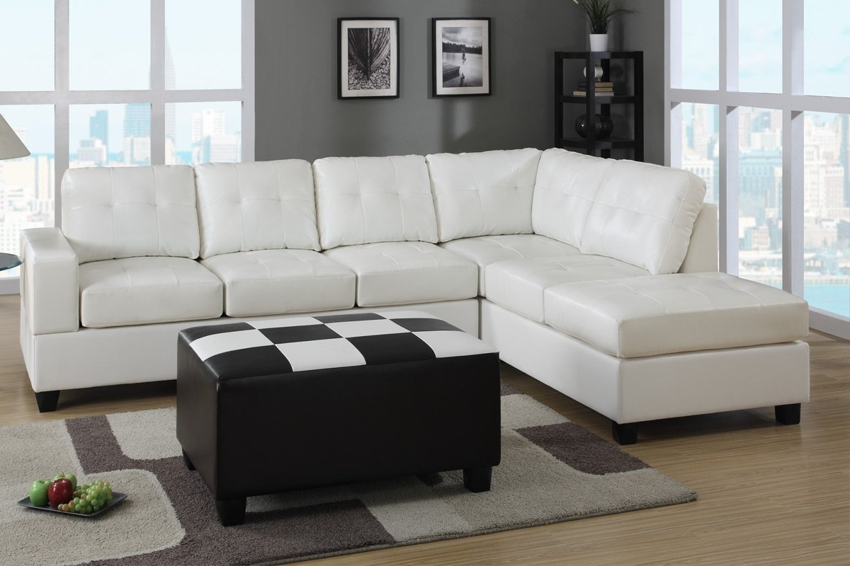 Fashionable Furniture: White Leather Sectional Sleeper Sofa Be Equipped With Inside Black Leather Sectionals With Ottoman (View 12 of 15)