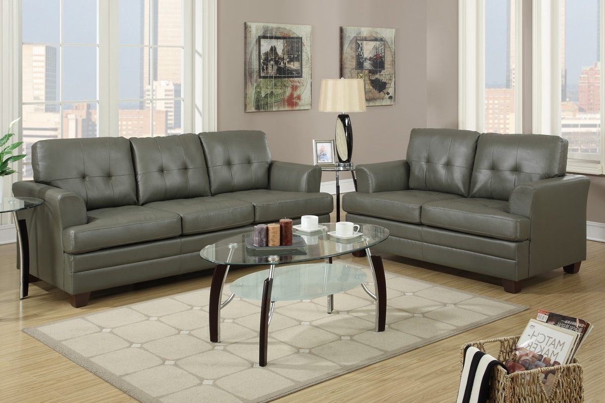 Fashionable Grey Leather Sofa And Loveseat Set – Steal A Sofa Furniture Outlet Regarding Sofas And Loveseats (View 7 of 15)