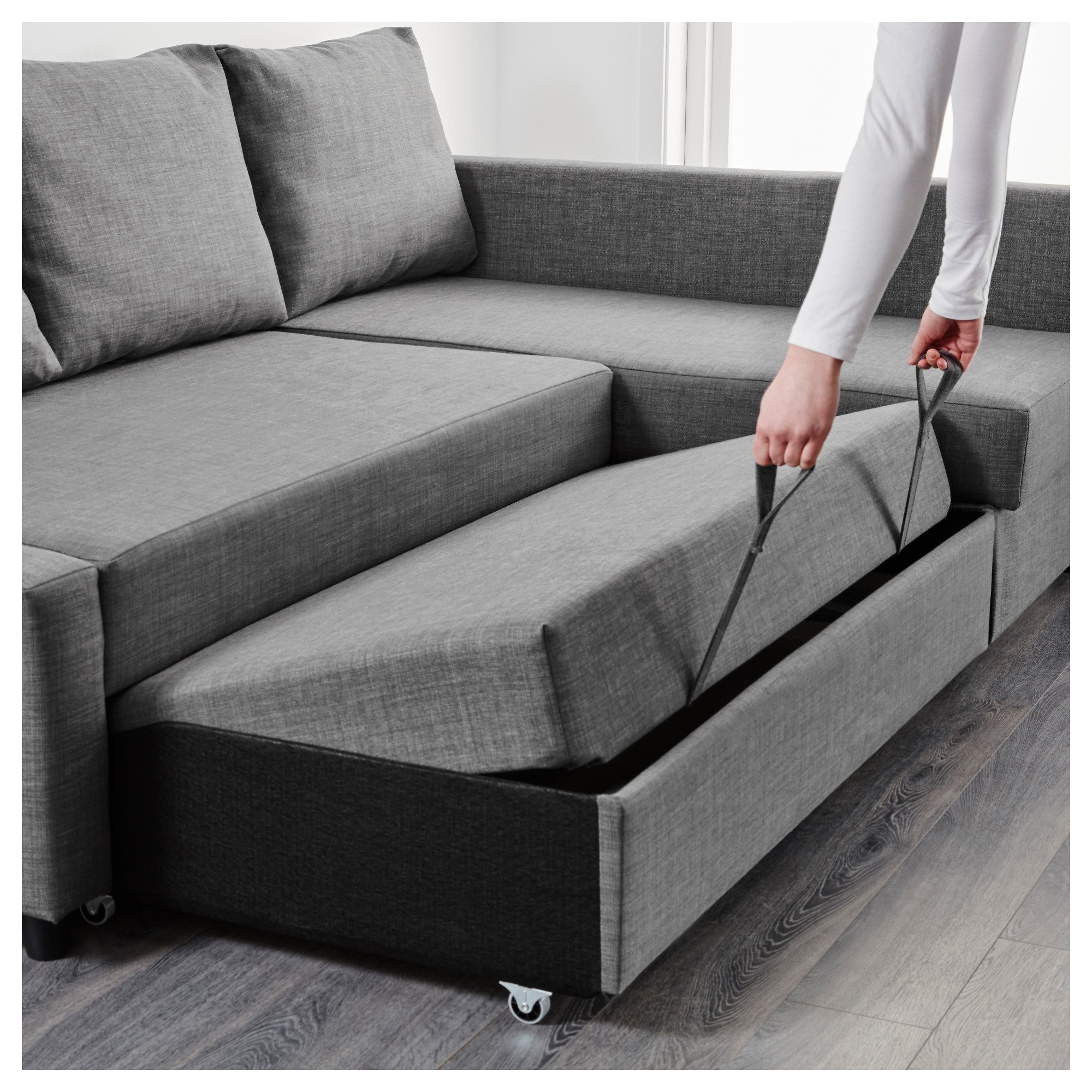 Fashionable Grey Sofas With Chaise For Friheten Corner Sofa Bed With Storage Skiftebo Dark Grey – Ikea (View 7 of 15)