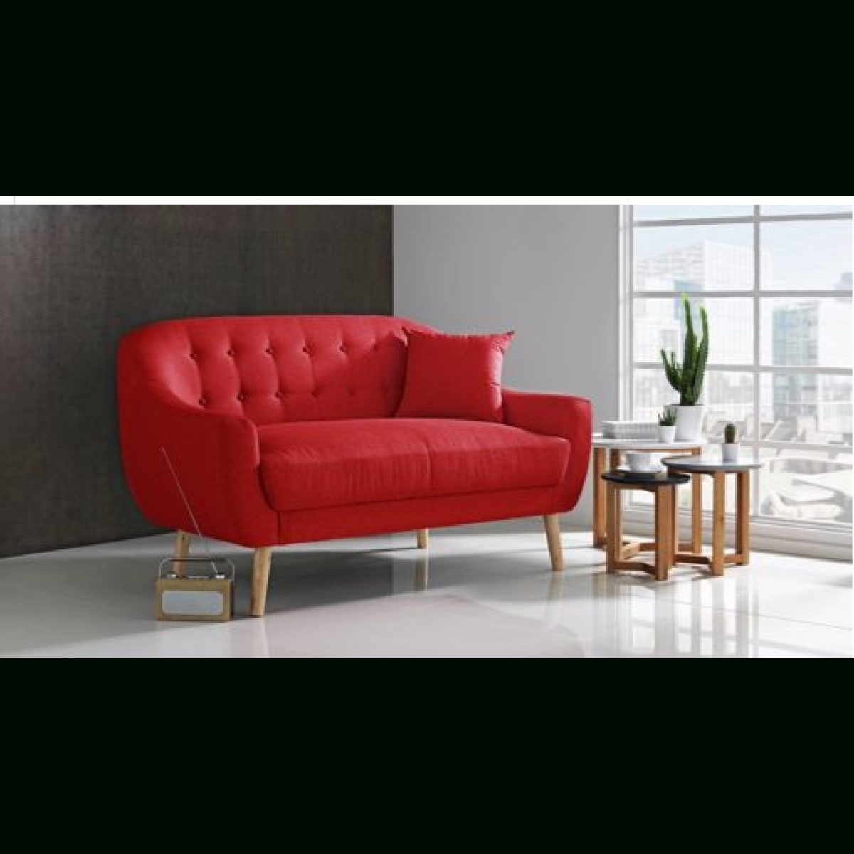 Fashionable Hygena Lexie Retro Compact Fabric 2 Seater Sofa – Poppy Red With Regard To Cheap Retro Sofas (View 8 of 15)