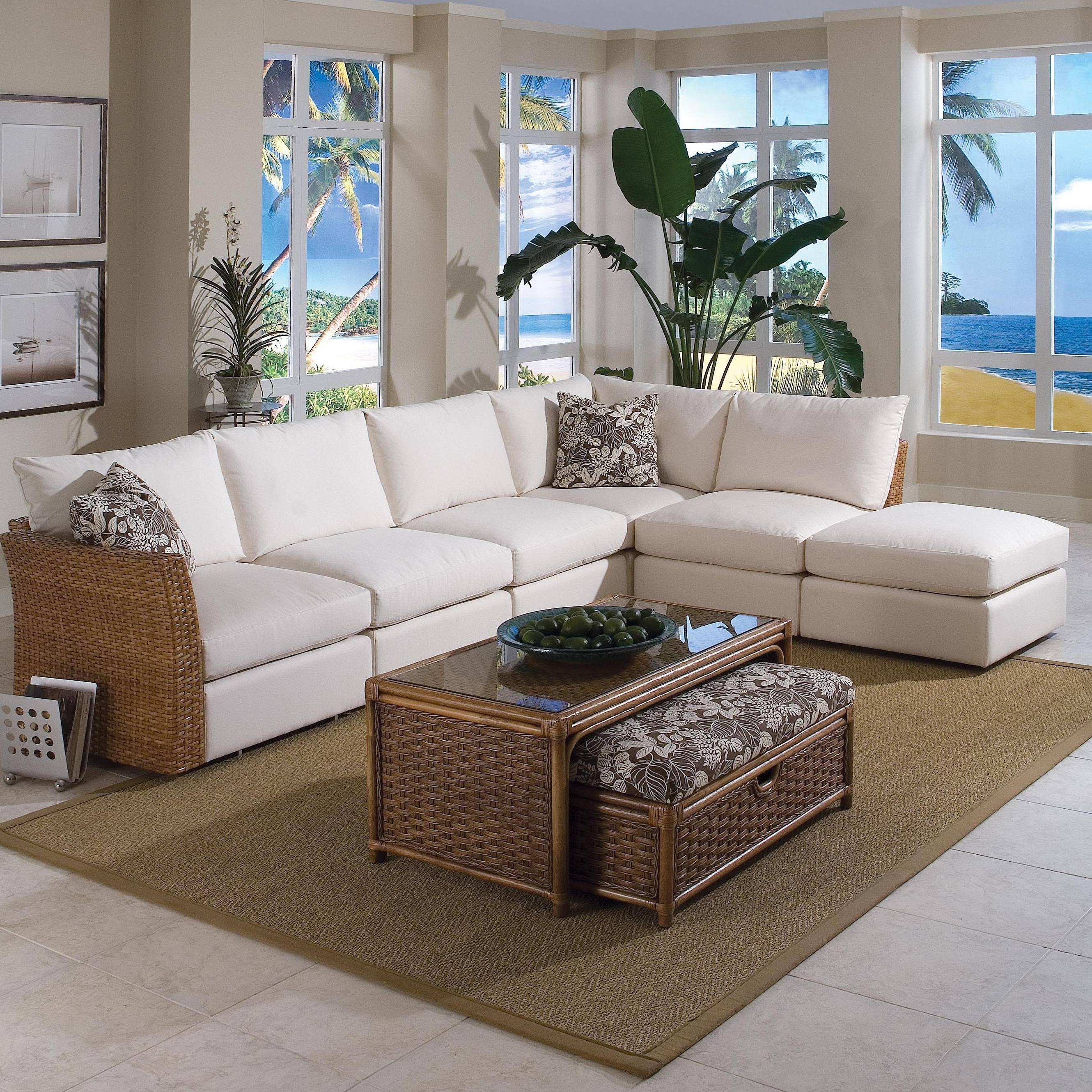 Fashionable Kanes Sectional Sofas Within Braxton Culler Grand Water Point Tropical Sectional Sofa With Two (View 6 of 15)