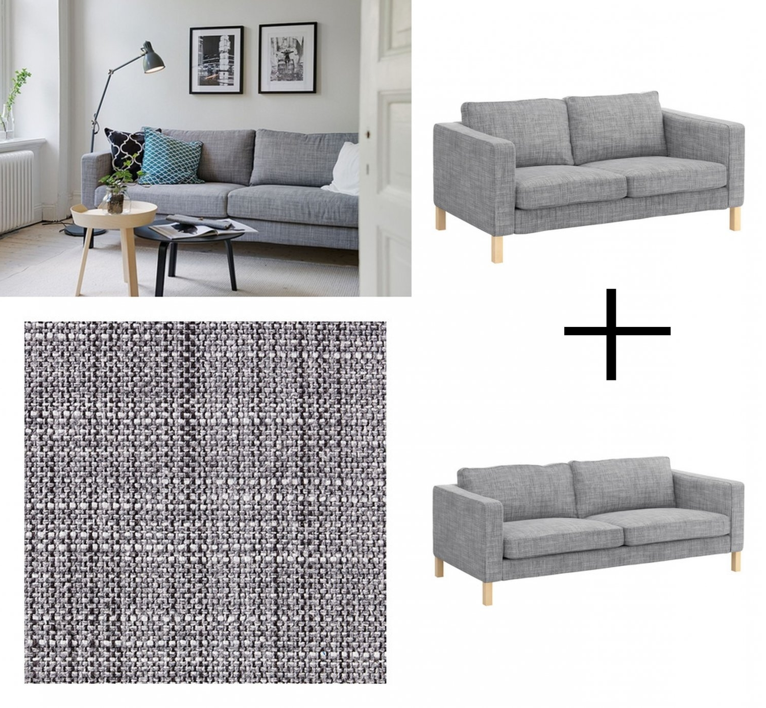 Fashionable Karlstad Sofa And Loveseat Slipcover Cover Isunda Gray Grey Linen With Regard To Karlstad Chaise Covers (View 5 of 15)