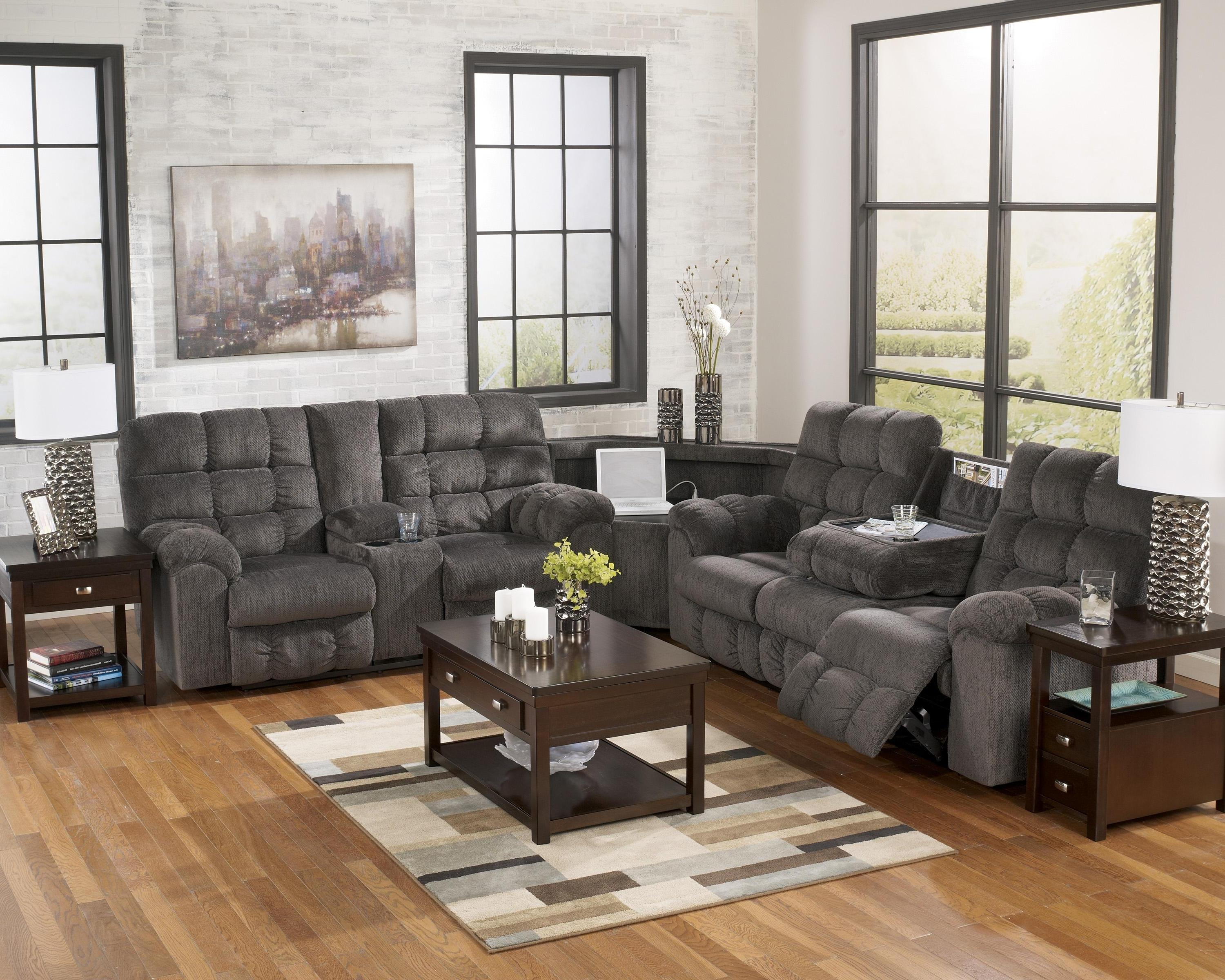 Fashionable Las Vegas Sectional Sofas Intended For Reclining Sectional Sofa With Right Side Loveseat, Cup Holders And (View 3 of 15)