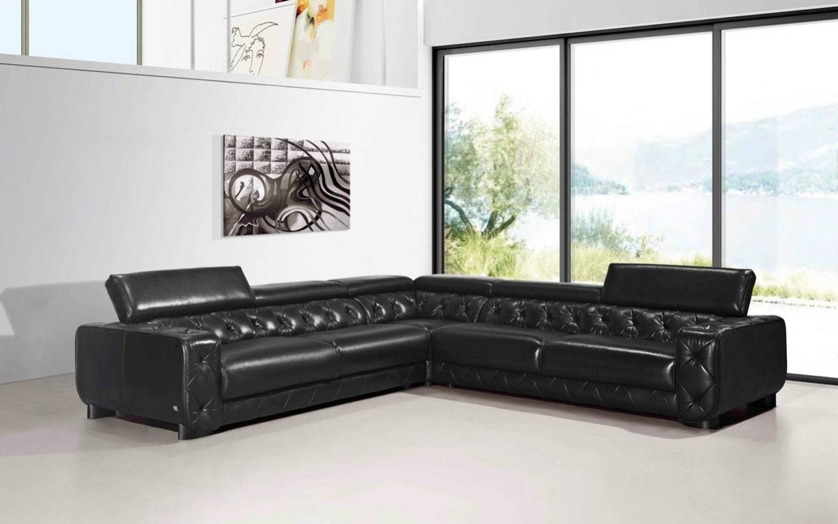 Fashionable Las Vegas Sectional Sofas Regarding Large Contemporary Black Tufted Genuine Leather Sectional Sofa Las (View 10 of 15)