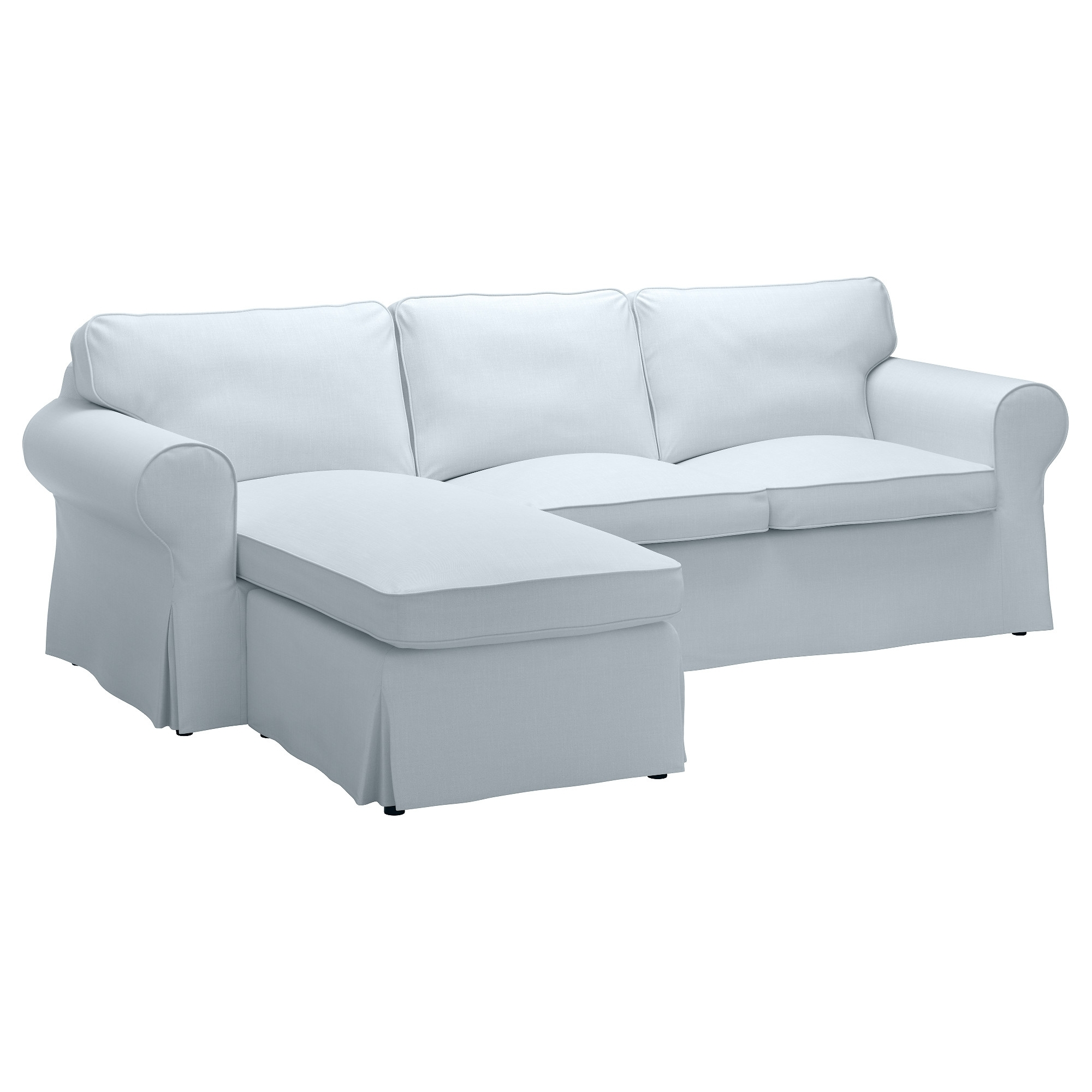 Fashionable Loveseats With Chaise Lounge Throughout Ektorp Sofa – With Chaise/nordvalla Light Blue – Ikea (View 5 of 15)