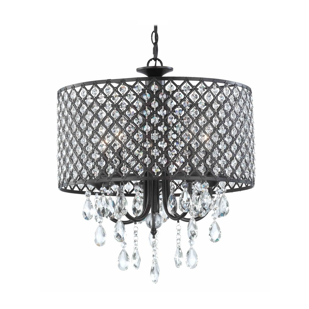 Fashionable Modern Chandelier With Hanging Crystal And Round Bronze Drum Shades Within Bronze Modern Chandelier (View 8 of 15)