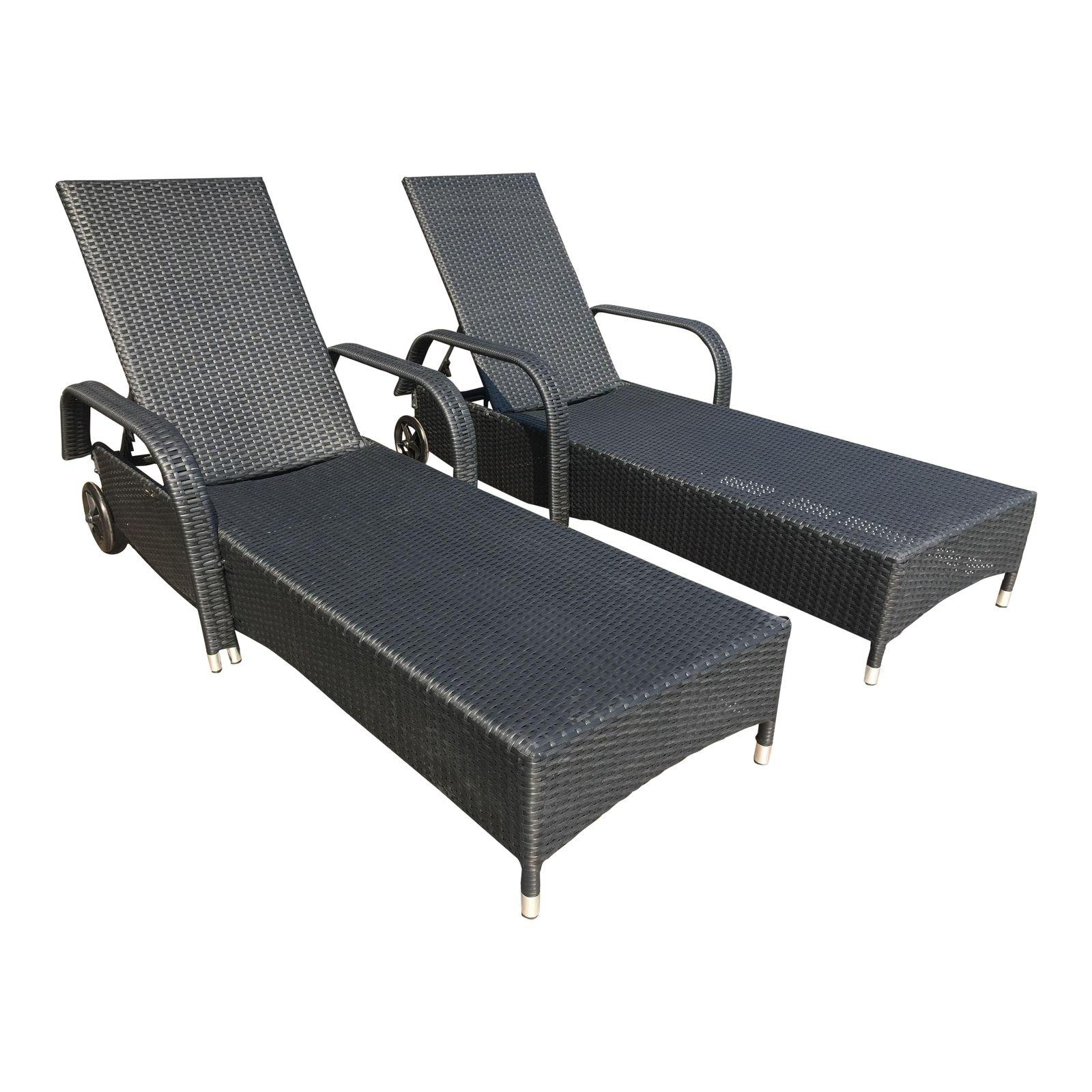 Fashionable Outdoor Chaises With New Morgan Design – Pair Of Outdoor Chaises Brown Frames + White (View 3 of 15)