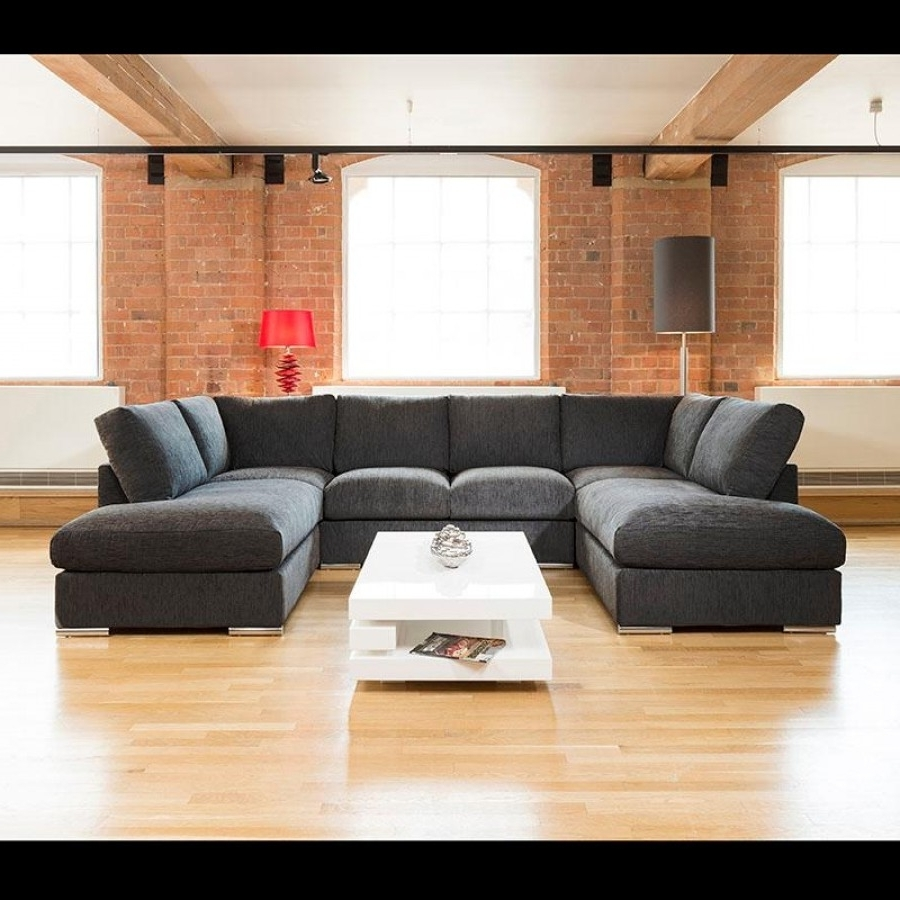 Fashionable Quatropi Large Sofa Set Settee Corner Group U Shape Black  (View 6 of 15)