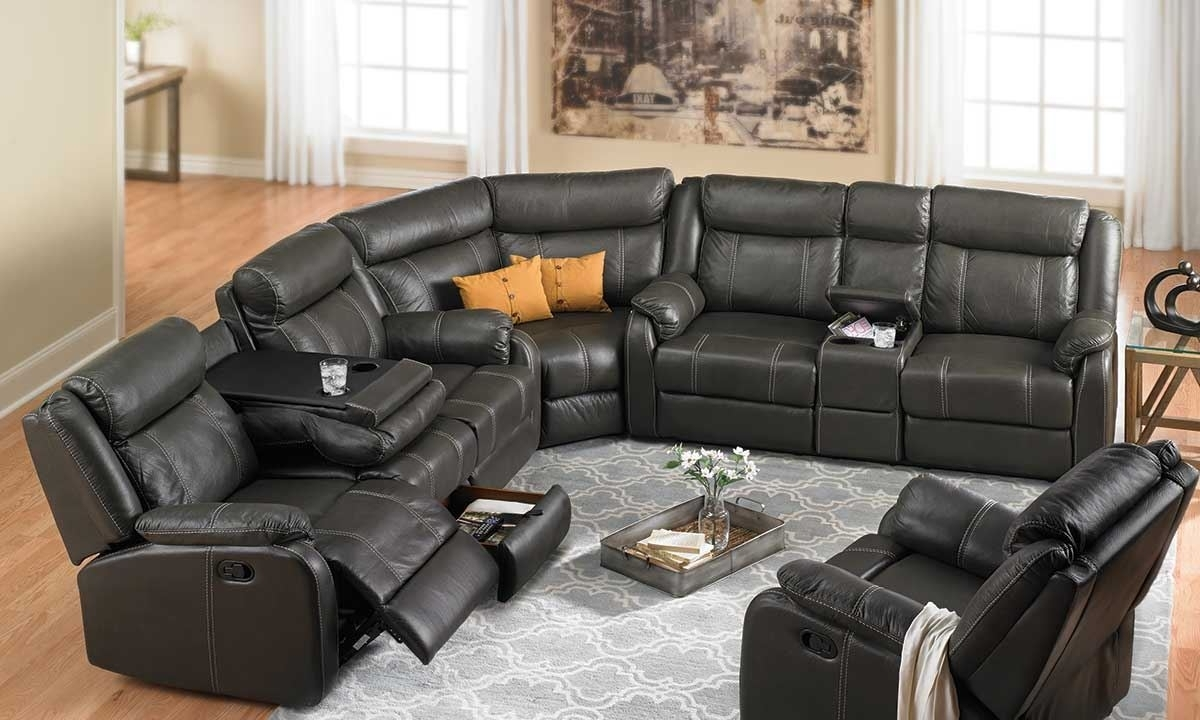 Fashionable Reclining Sectional Sofas within Cache Reclining Storage Sectional