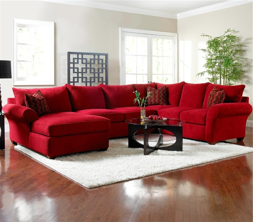 Fashionable Red Leather Sectionals With Chaise Throughout Picture Of Red Microfiber Sectionals Highlight Your Living Room (View 3 of 15)