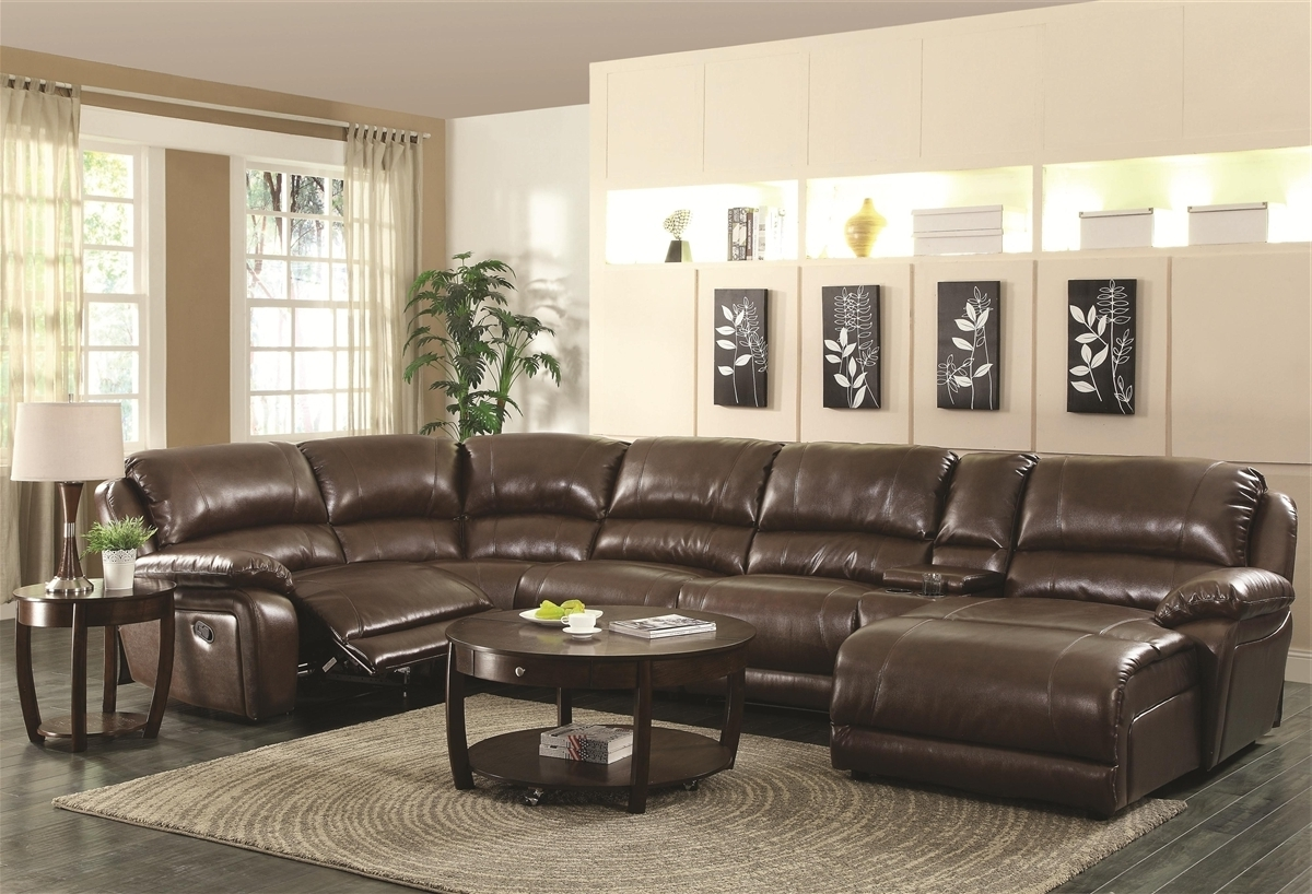 Fashionable Sectionals With Chaise And Recliner Inside Brown Sectional Sofas Lovely L Shaped Brown Leather Sleeper Sofa (View 3 of 15)