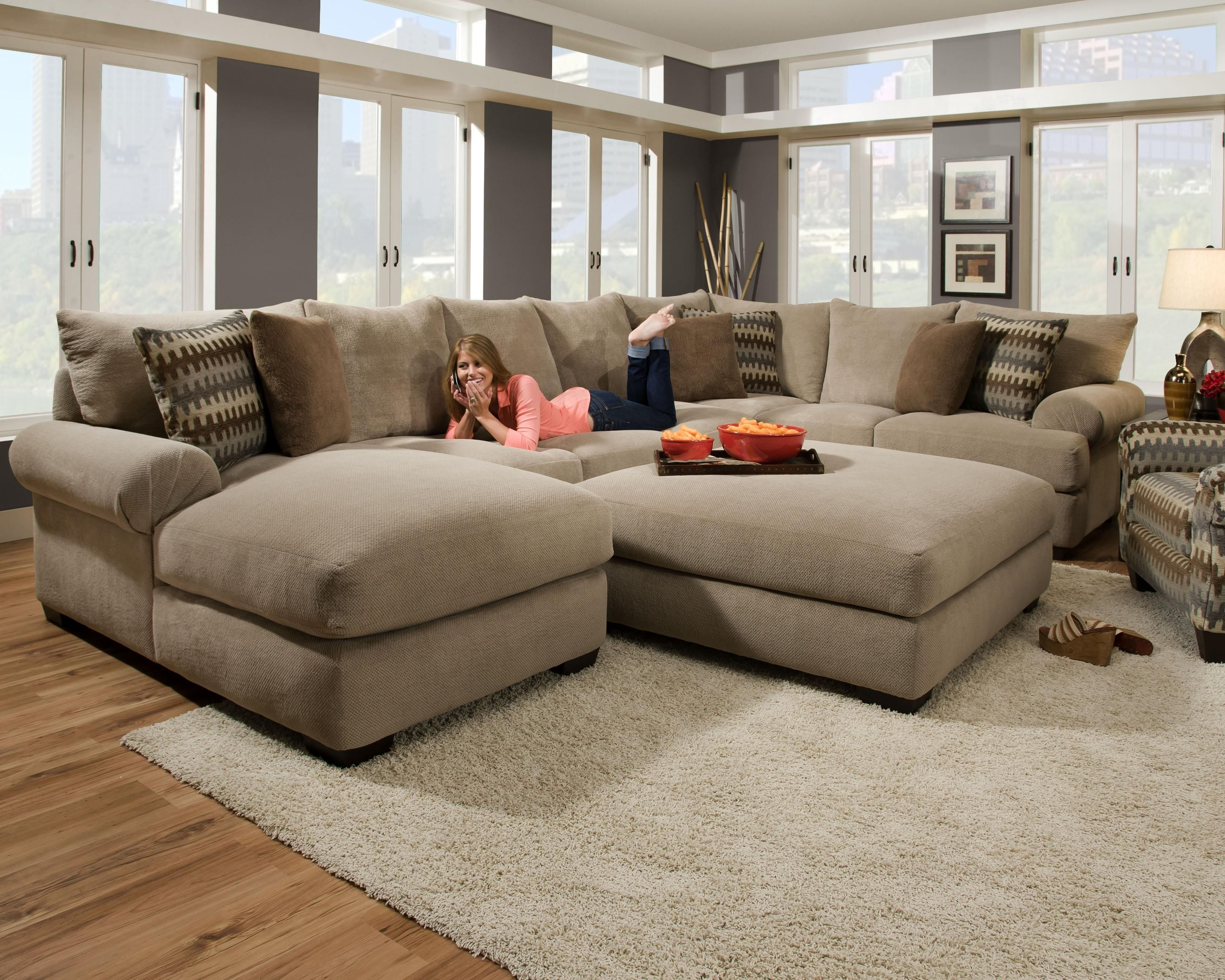 Fashionable Sectionals With Oversized Ottoman Intended For Furniture Design Idea For Living Room And Oversized U Shaped (View 4 of 15)