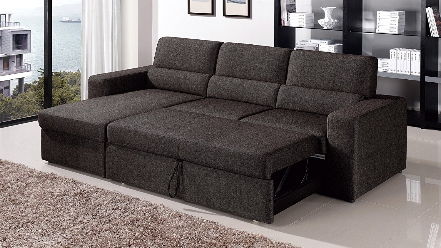 Fashionable Sleeper Chaise Sofas For Amazon: Black/brown Clubber Sleeper Sectional Sofa – Right (View 14 of 15)