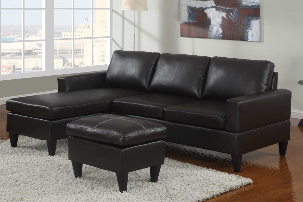 Fashionable Small Espresso Faux Leather Sectional Sofa With Ottoman Lowest Intended For Faux Leather Sectional Sofas (View 15 of 15)