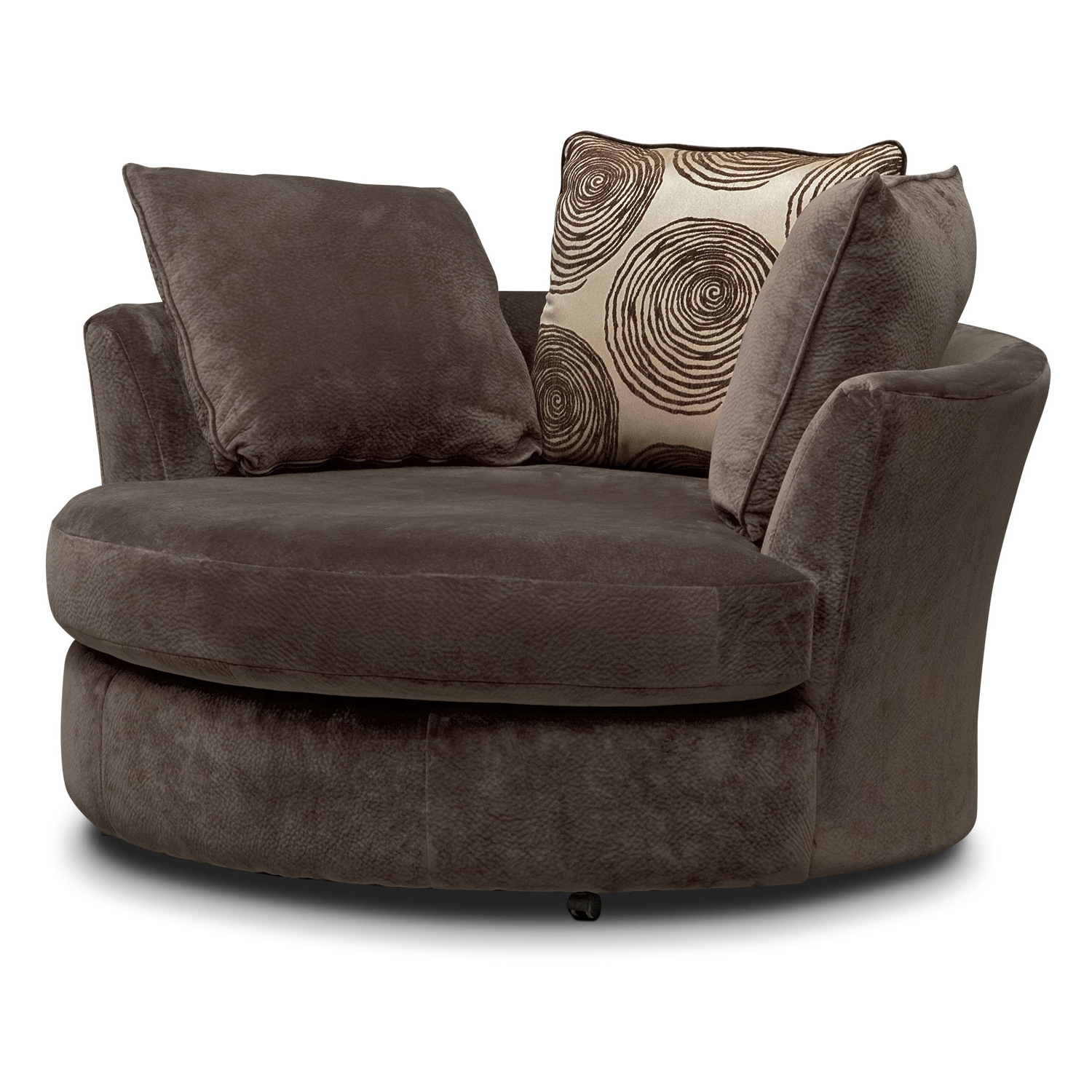 Fashionable Sofas With Swivel Chair Inside Cordelle Sofa And Swivel Chair Set – Chocolate (View 1 of 15)