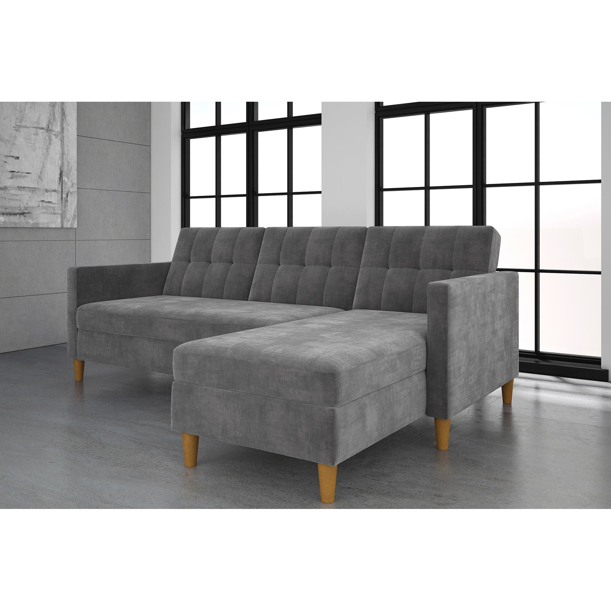Fashionable Stigall Futon Storage Reversible Sleeper Sectional (View 15 of 15)