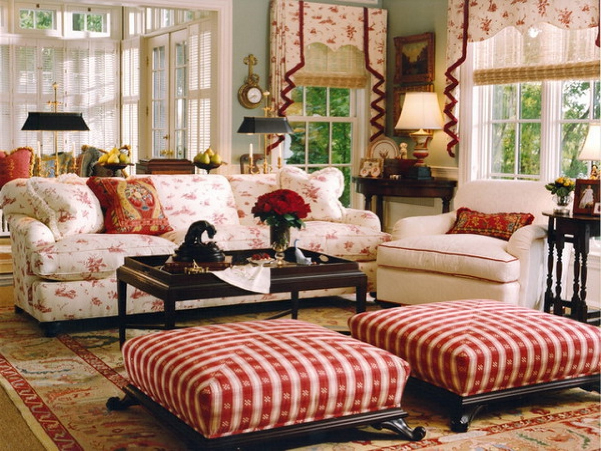 Fashionable Striped Sofas And Chairs Inside Attractive English Country Living Room Ideas Square Red Striped (View 11 of 15)