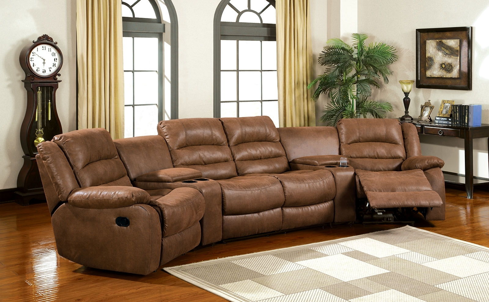 Fashionable Theatre Sectional Sofas Throughout Furniture Of America Cm6123 Manchester Brown Leather Like Fabric  (View 6 of 15)