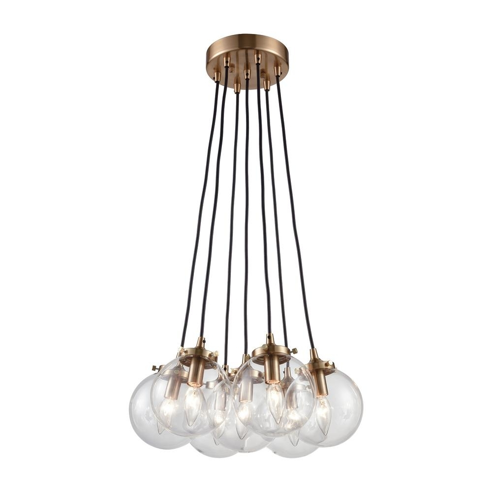 Fashionable Titan Lighting Boudreaux 7 Light Matte Black And Antique Gold For Clear Glass Chandeliers (View 7 of 15)