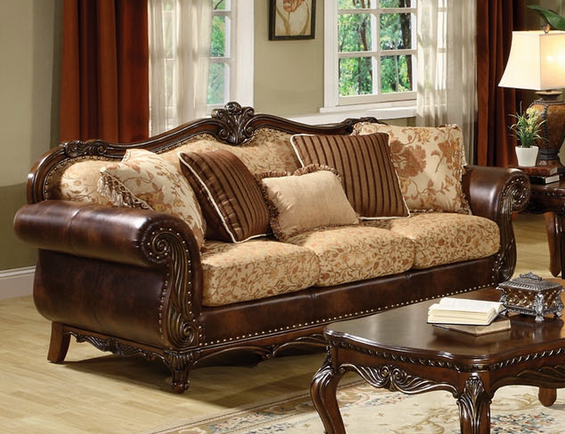 Fashionable Traditional Fabric Sofas With Regard To Remington Traditional 3 Pc Bonded Leather And Fabric Sofa Set (View 5 of 15)
