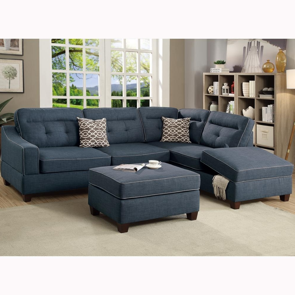 Fashionable Venetian Worldwide Capri 3 Piece Dark Blue Sectional Sofa With Within Sectional Sofas With Ottoman (View 3 of 15)