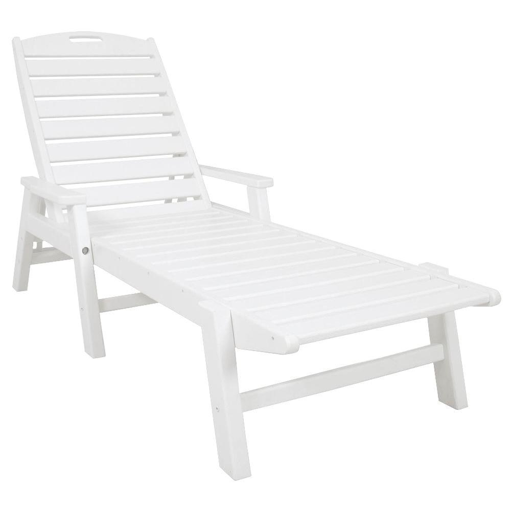 Fashionable White Outdoor Chaise Lounges Pertaining To Polywood Nautical White Stackable Plastic Outdoor Patio Chaise (View 4 of 15)