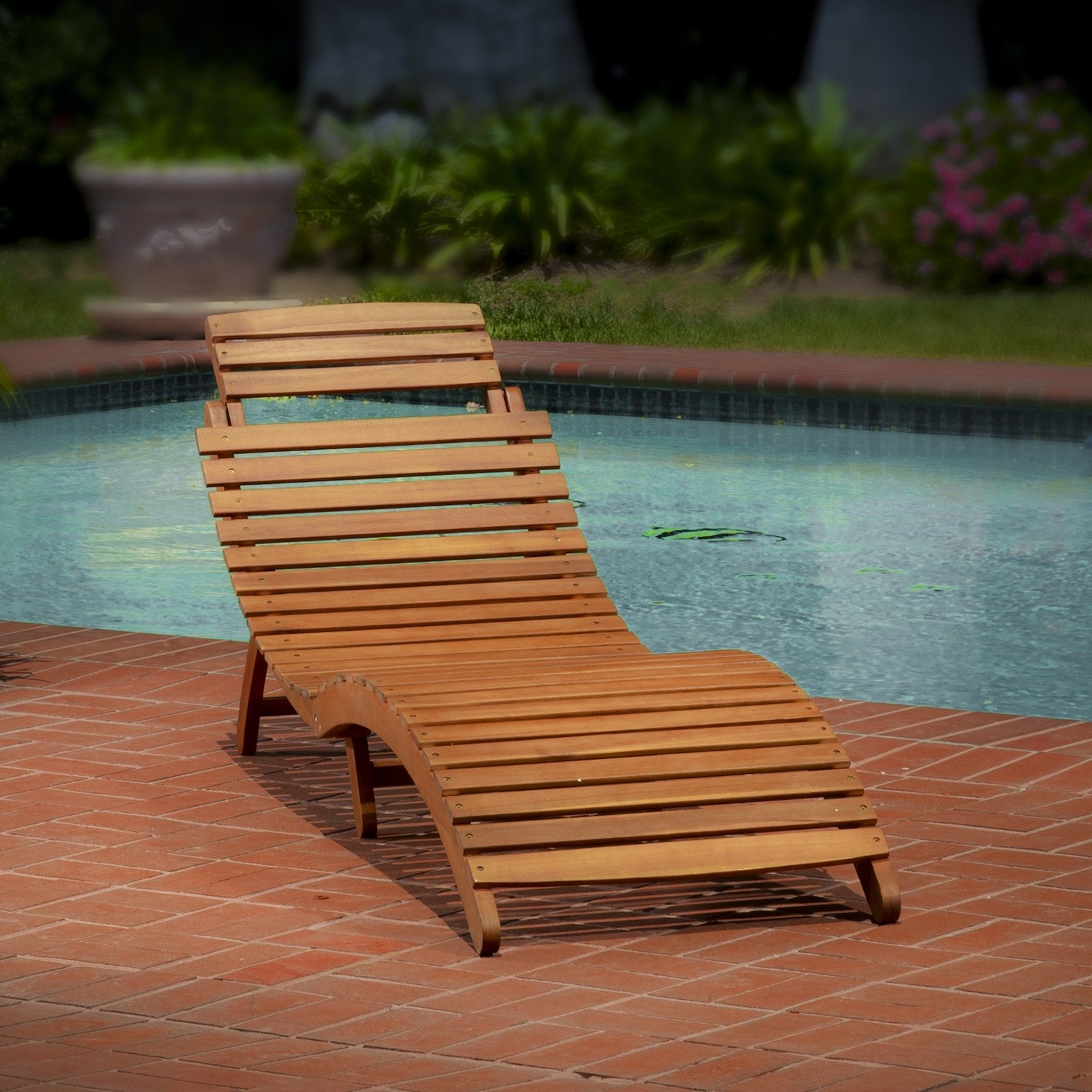 Fashionable Wood Chaise Lounge Chairs Intended For Lahaina Wood Outdoor Chaise Lounge – Walmart (View 13 of 15)