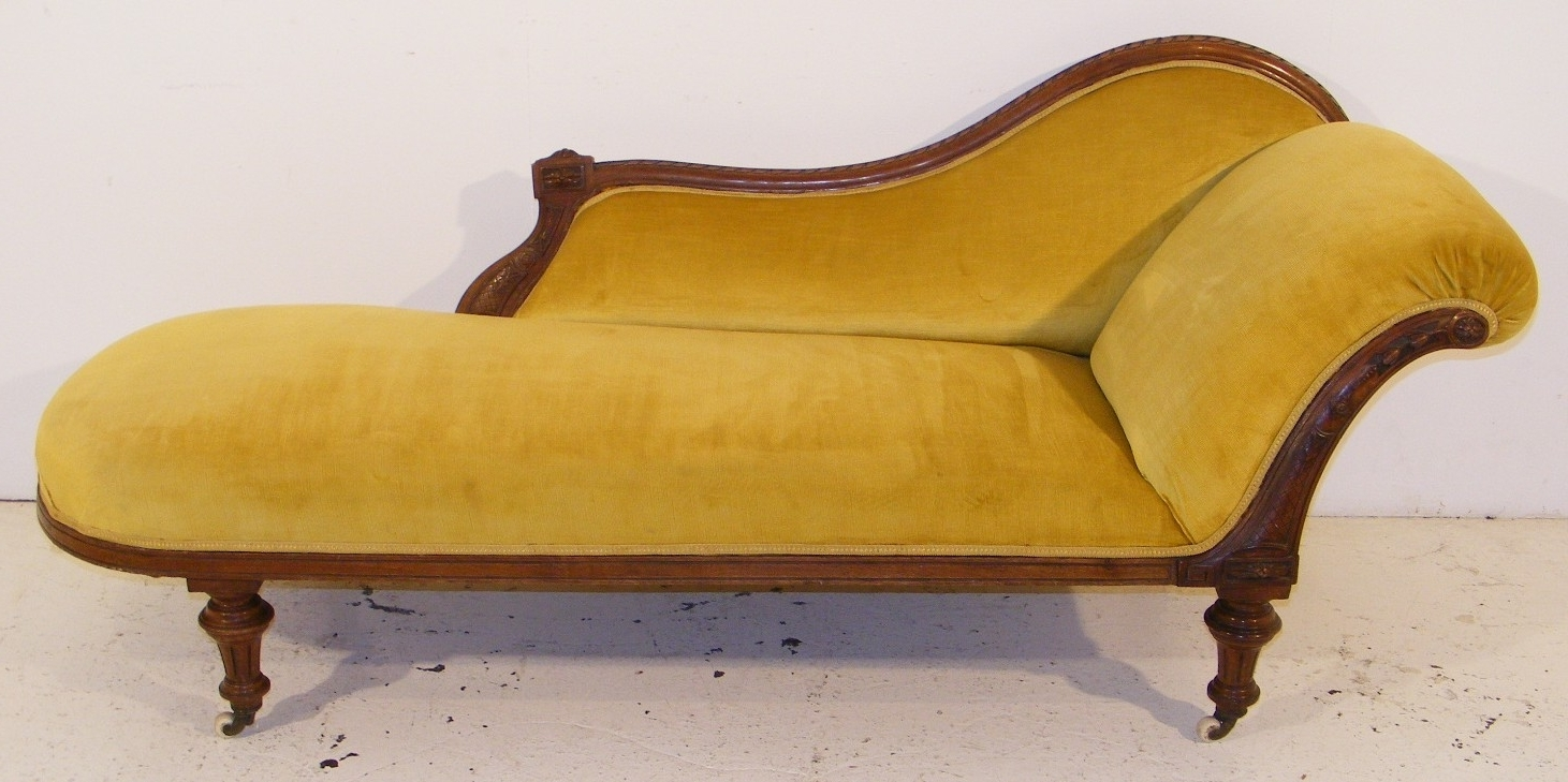 Fashionable Yellow Chaise Lounges For Victorian Chaise Lounge – Long Melford Antiques Centre (View 4 of 15)