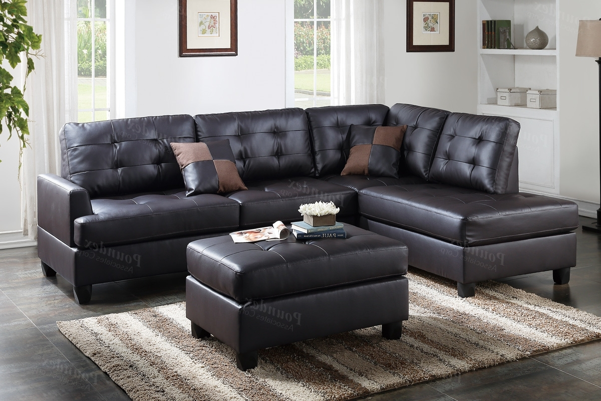 Faux Leather Sectional Sofas With Popular Brown Leather Sectional Sofa And Ottoman – Steal A Sofa Furniture (View 4 of 15)