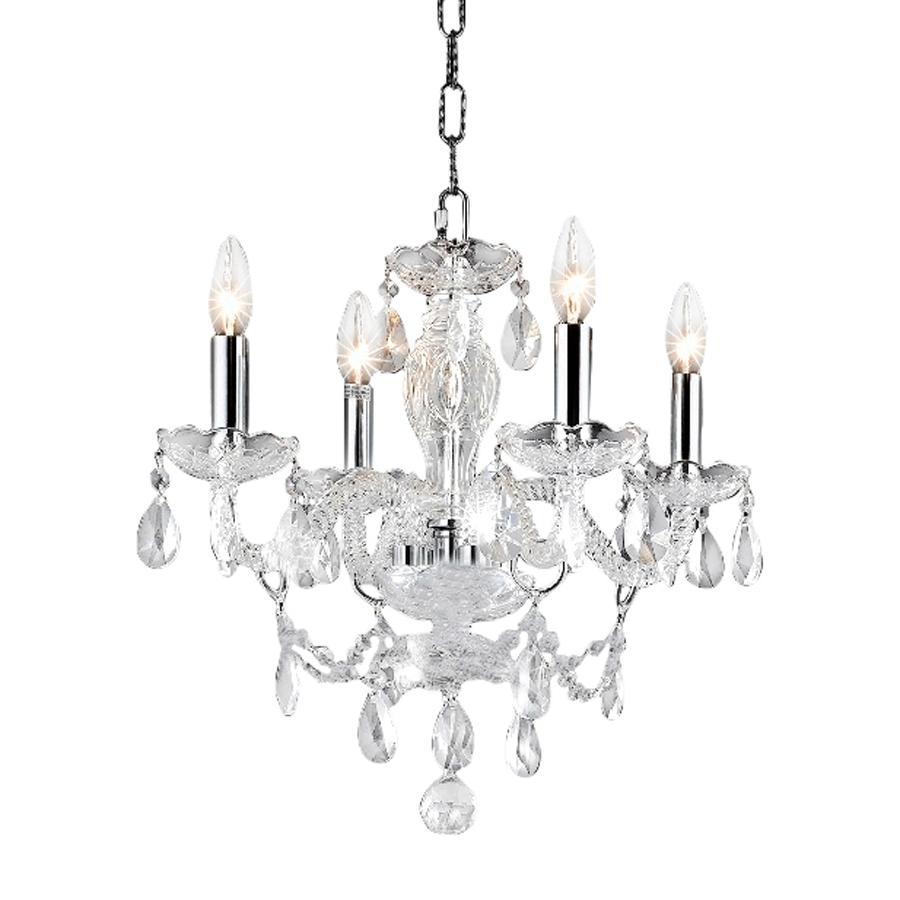 Favorite 4 Light Crystal Chandeliers Regarding Shop Elegant Lighting Princeton 17 In 4 Light Chrome Crystal Crystal (View 4 of 15)