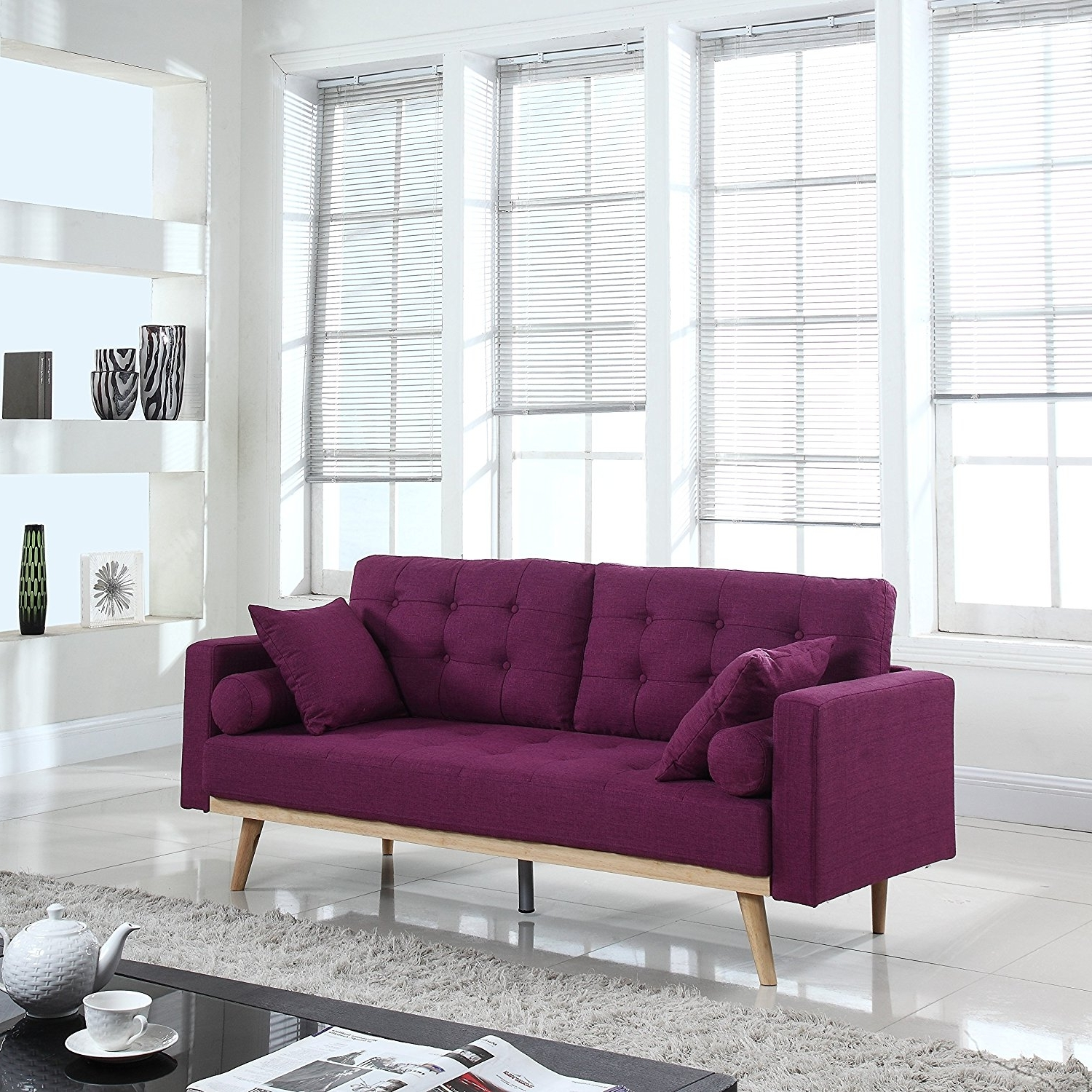 Favorite Amazon: Mid Century Modern Tufted Linen Fabric Sofa (Purple For Tufted Linen Sofas (View 15 of 15)