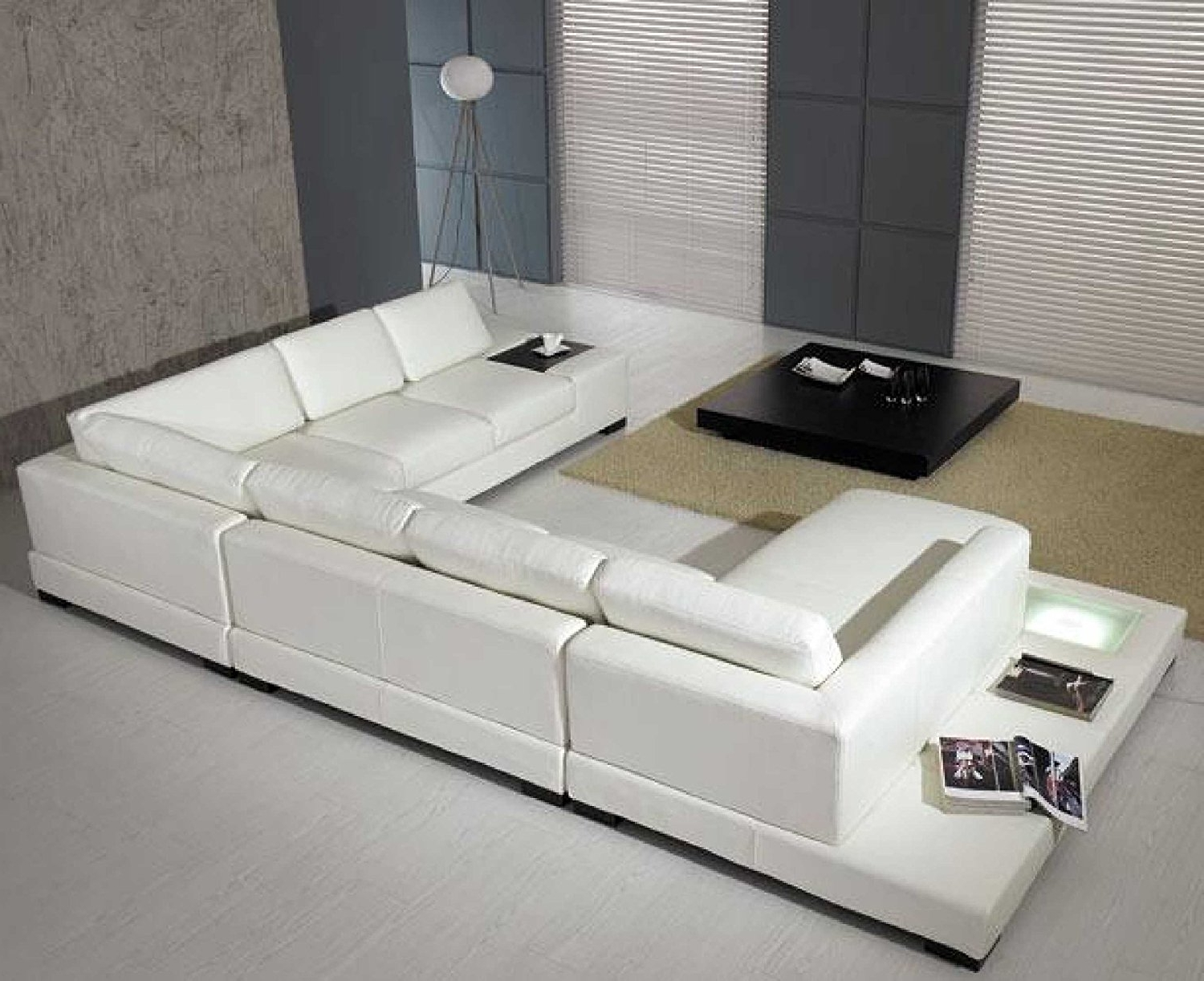 Favorite Amazon: T35 – White Bonded Leather Sectional Sofa Set With Within White Modern Sofas (View 4 of 15)