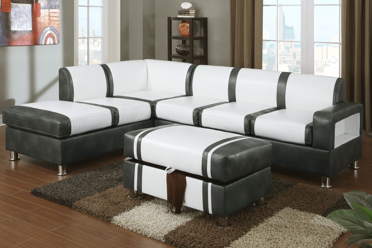Favorite Barnes Cream And Gray Bonded Leather Sectional Sofa With Ottoman Intended For Sectionals With Ottoman (View 7 of 15)