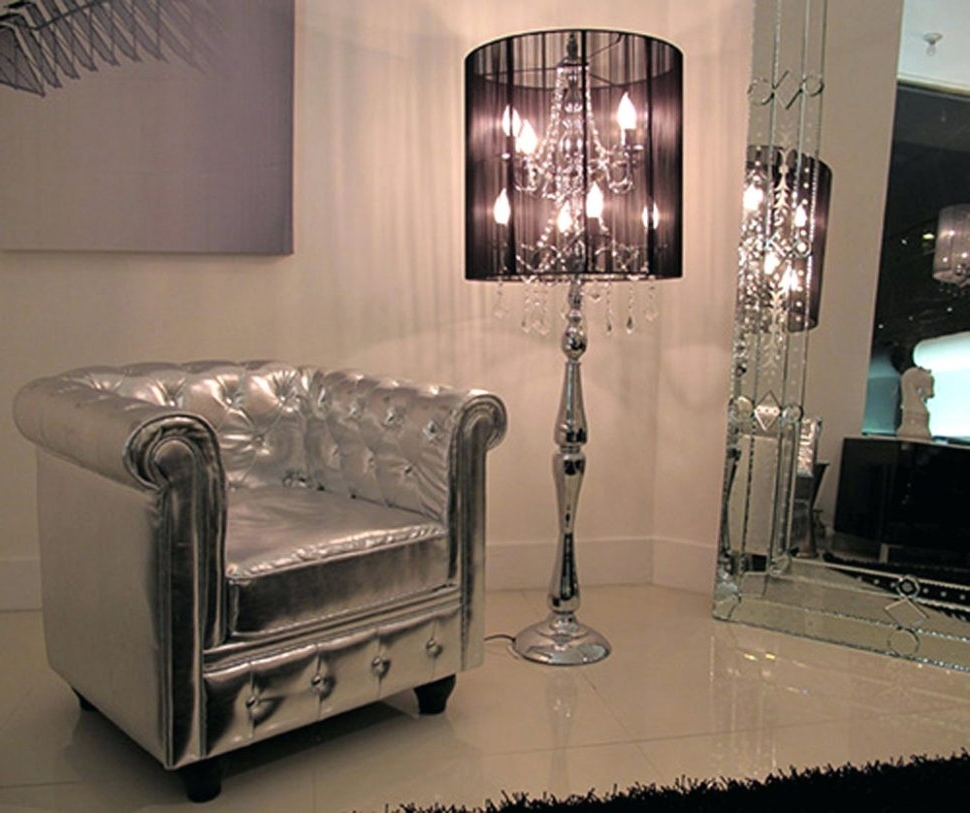 Favorite Black Chandelier Standing Lamps With Regard To Light : Black Crystal Chandelier Style Table Lamp Floor Contemporary (View 7 of 15)