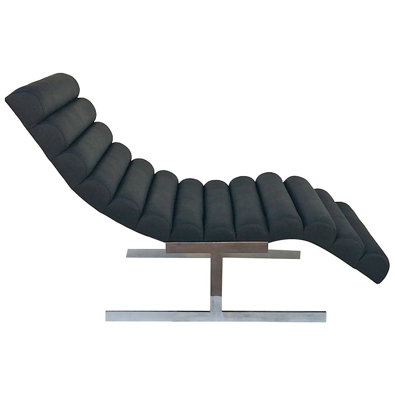Favorite Black Channeled Leather Chaise Loungemilo Baughman At 1Stdibs With Regard To Black Leather Chaise Lounges (View 8 of 15)