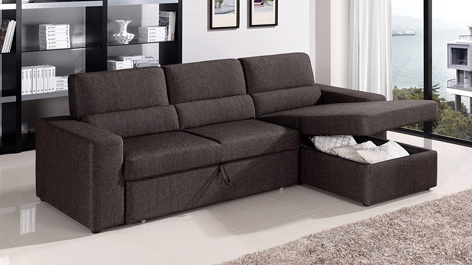 Favorite Chaise Sofa Beds With Storage Inside Amazon: Black/brown Clubber Sleeper Sectional Sofa – Left (View 12 of 15)