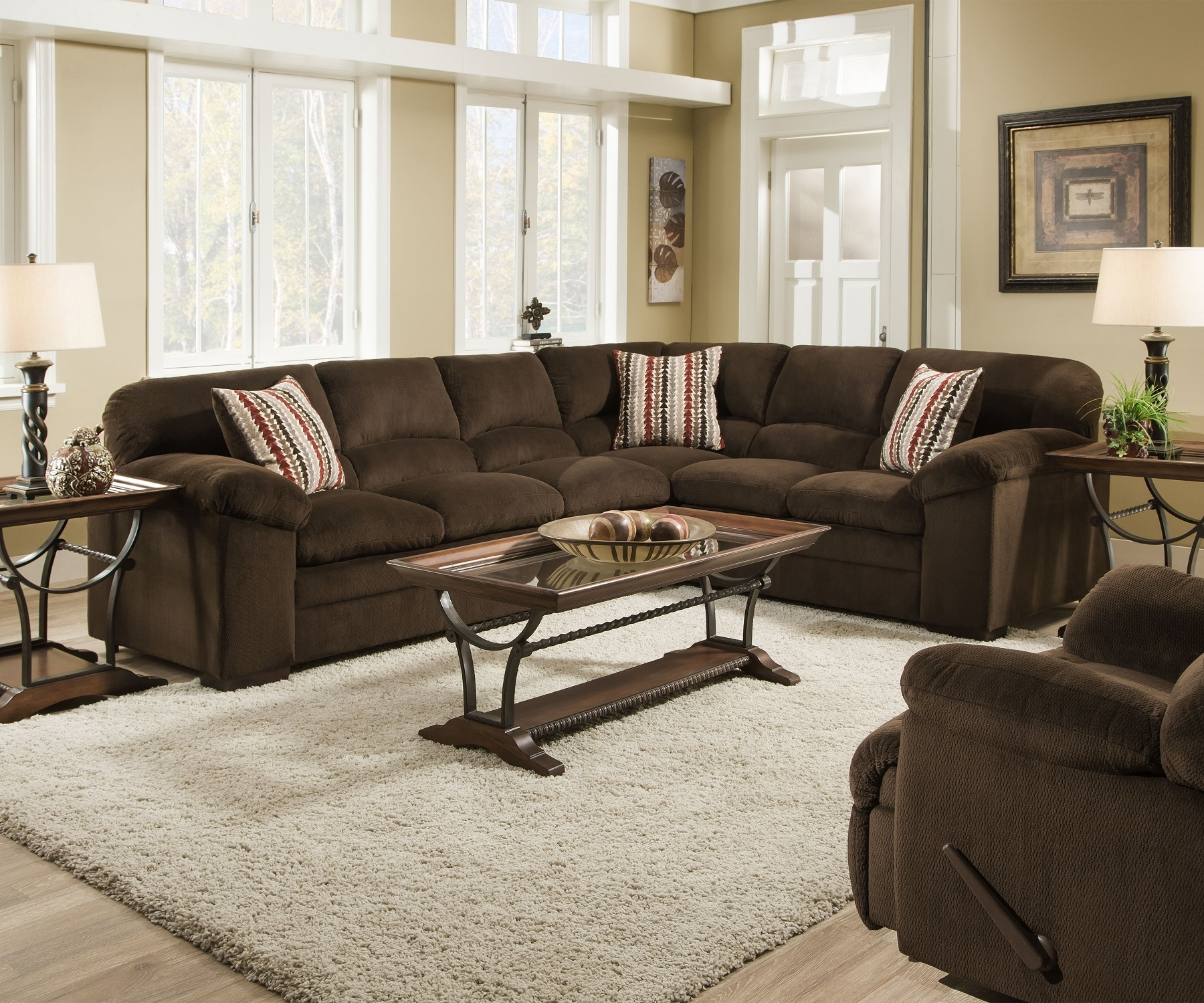Favorite Chocolate Sectional Sofas For Simmons Dover 8043 Chocolate Ultra Plush Soft Seating Made In The Usa (View 7 of 15)