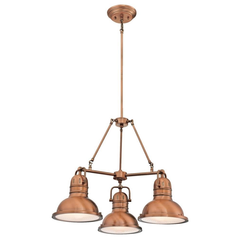 Favorite Copper Chandeliers Inside Westinghouse Boswell 3 Light Washed Copper Chandelier With Prismatic (View 9 of 15)