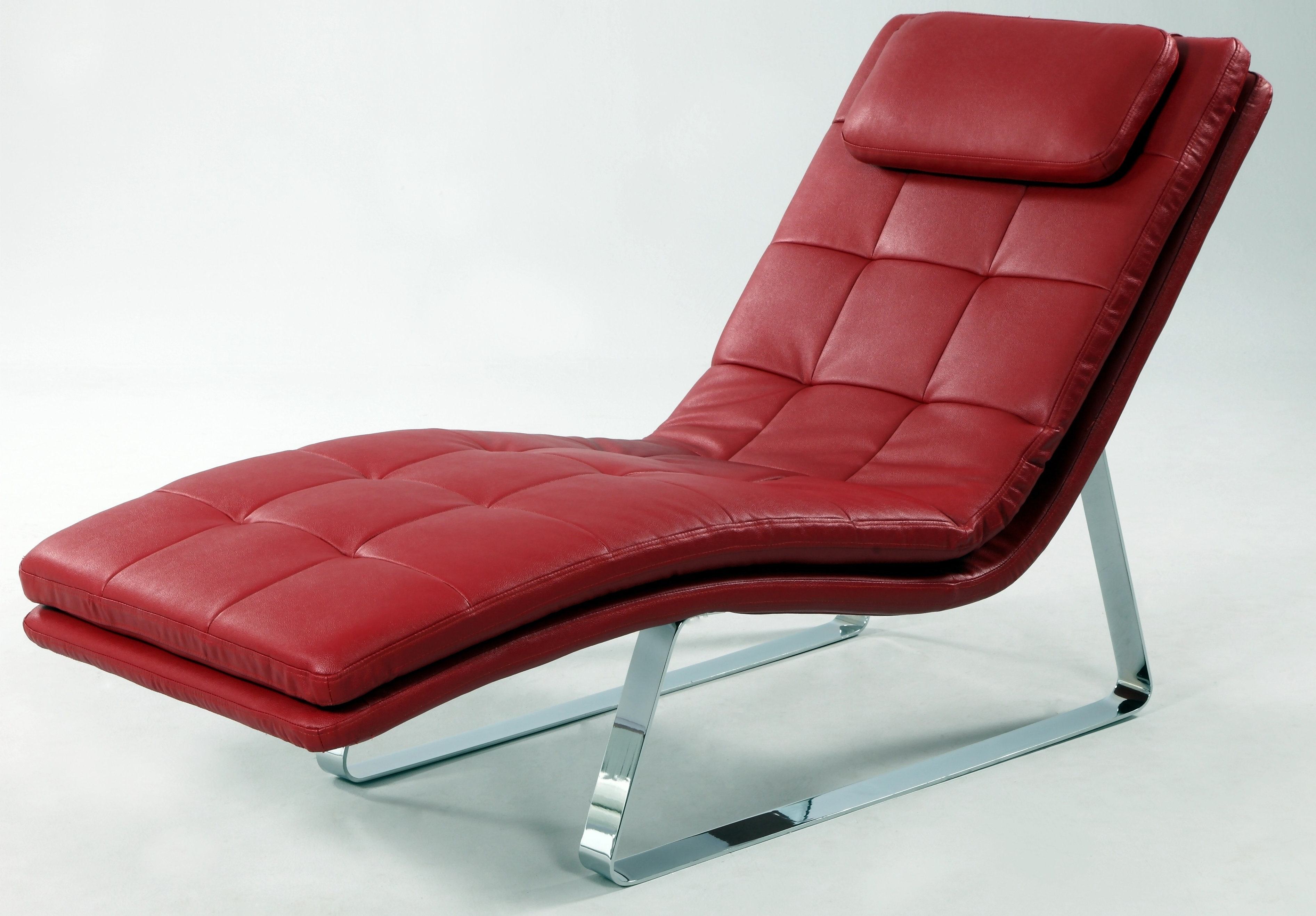 Favorite Full Bonded Leather Tufted Chaise Lounge With Chrome Legs New York Within Red Leather Chaises (View 3 of 15)