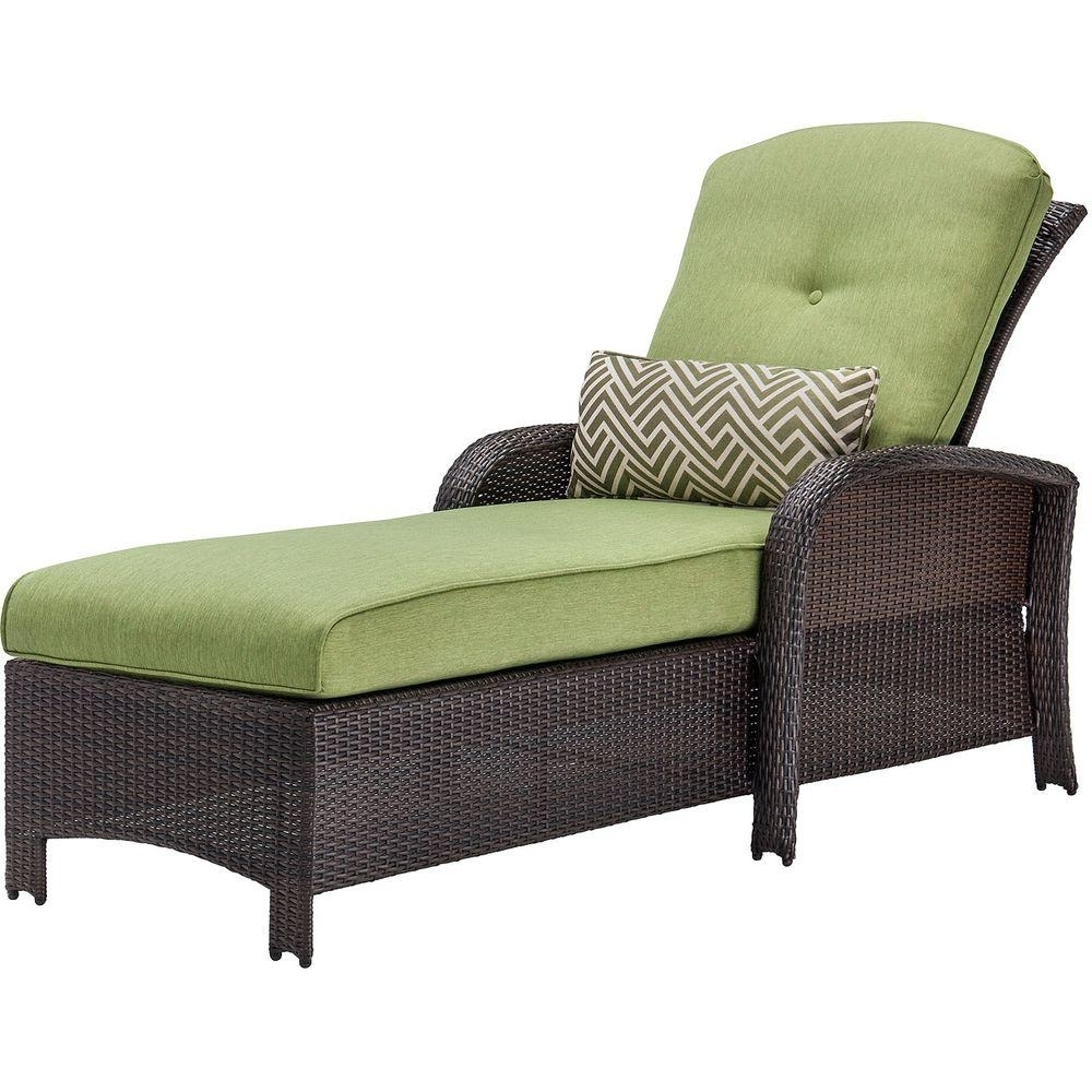 Favorite Green Chaise Lounges Regarding Hanover Strathmere All Weather Wicker Patio Chaise Lounge With (View 4 of 15)
