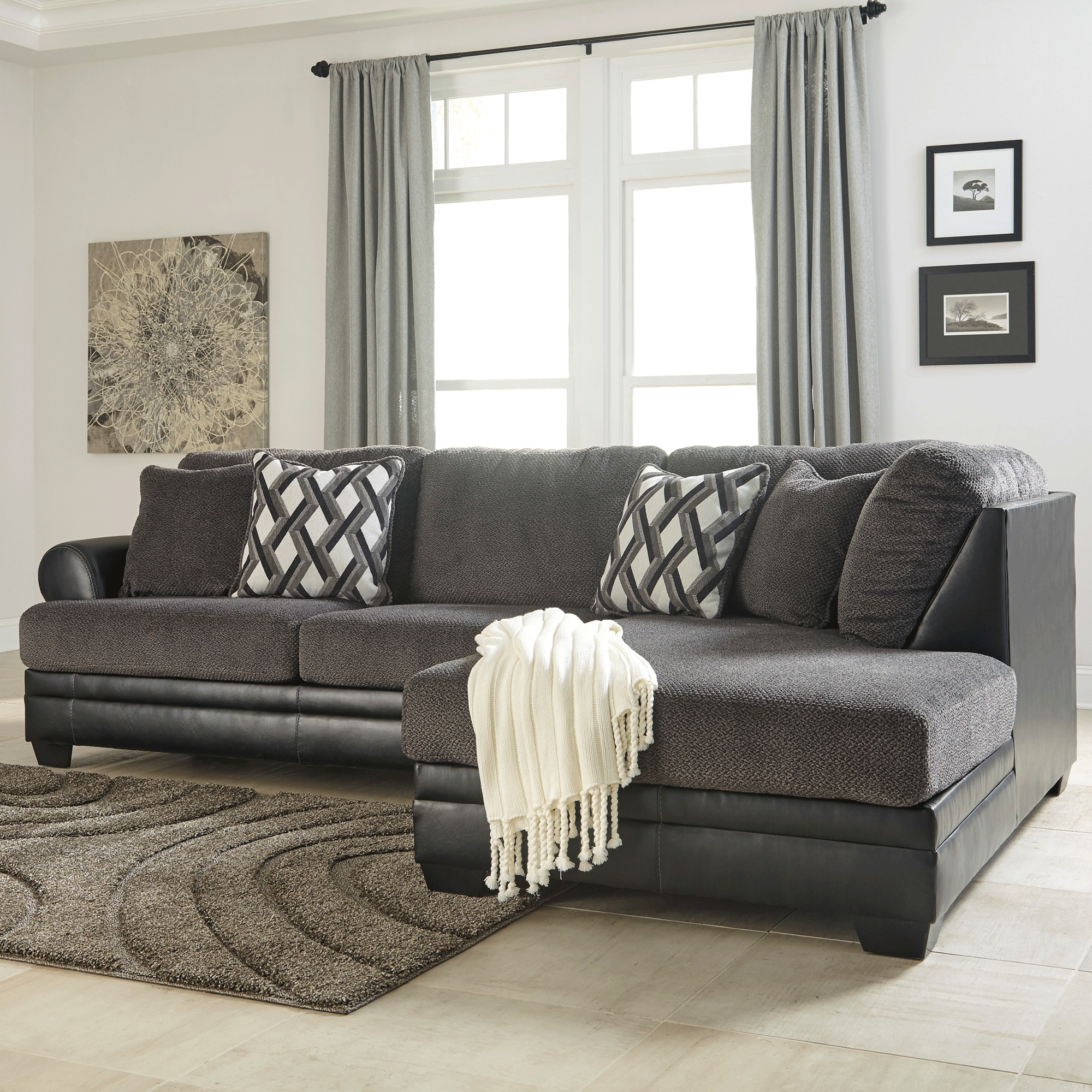 Favorite Kumasi Smoke 2 Piece Sectional – Bernie & Phyl's Furniture – Throughout Ashley Furniture Sofa Chaises (View 15 of 15)