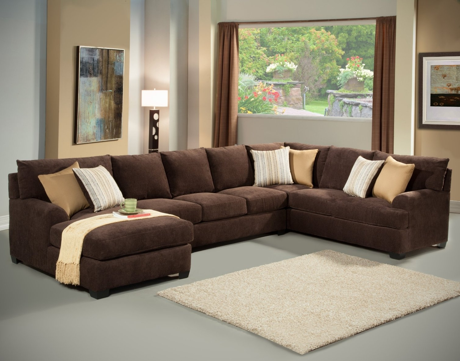 Favorite Large Sectionals With Chaise With Living Room: Large Sectional Sofas In Brown With Photo In Wall (View 3 of 15)