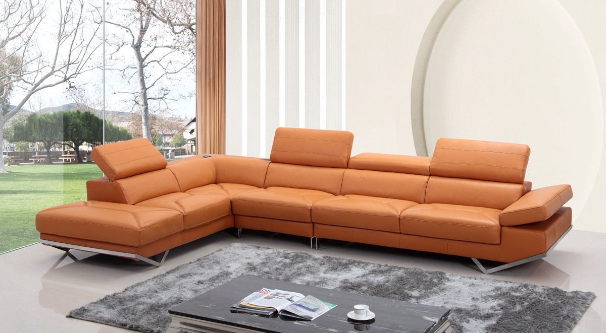 Favorite Modern Orange Leather Sectional Sofa Inside Quebec Sectional Sofas (View 4 of 15)