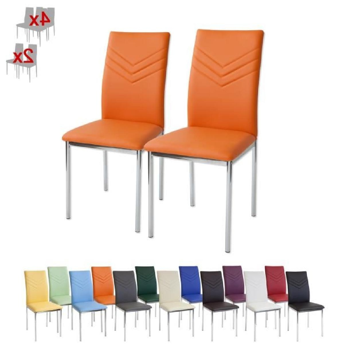Favorite Orange Chaises With Regard To Albatros 2933 Verona Lot De 2 Chaises, Orange, Pieds Chrome, Sgs (View 8 of 15)