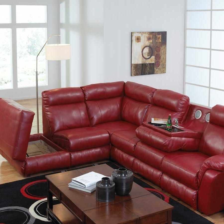 Favorite Red Leather Chaises Within Catnapper Chastain Bonded Leather Sectional With Storage Chaise (View 14 of 15)