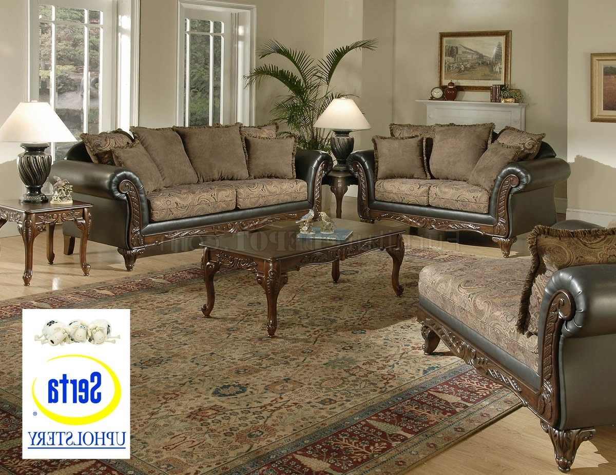 Favorite Sofa Loveseat And Chaise Sets With Regard To Chocolate Fabric Classic Sofa & Loveseat Set W/optional Chaise (View 4 of 15)
