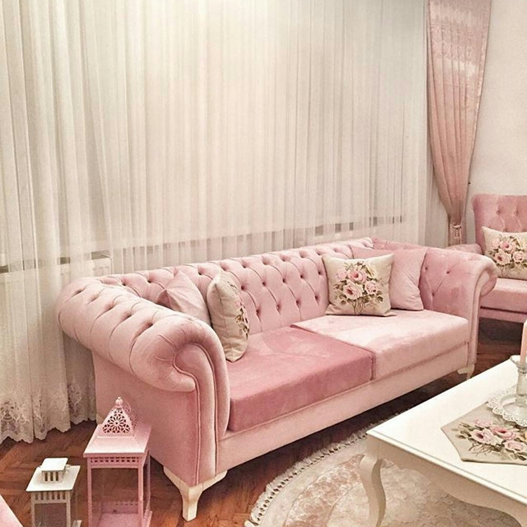 Favorite Sofa Shabby Chic Pink Queeny Queen Furniture Living Room Minimalis Within Shabby Chic Sofas (View 6 of 15)