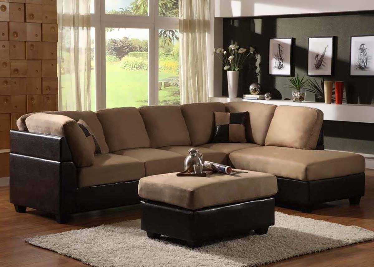 Favorite Sofa : Small Leather Sectional Leather Sectional Sofa Gray Throughout Microfiber Sectional Sofas With Chaise (View 5 of 15)