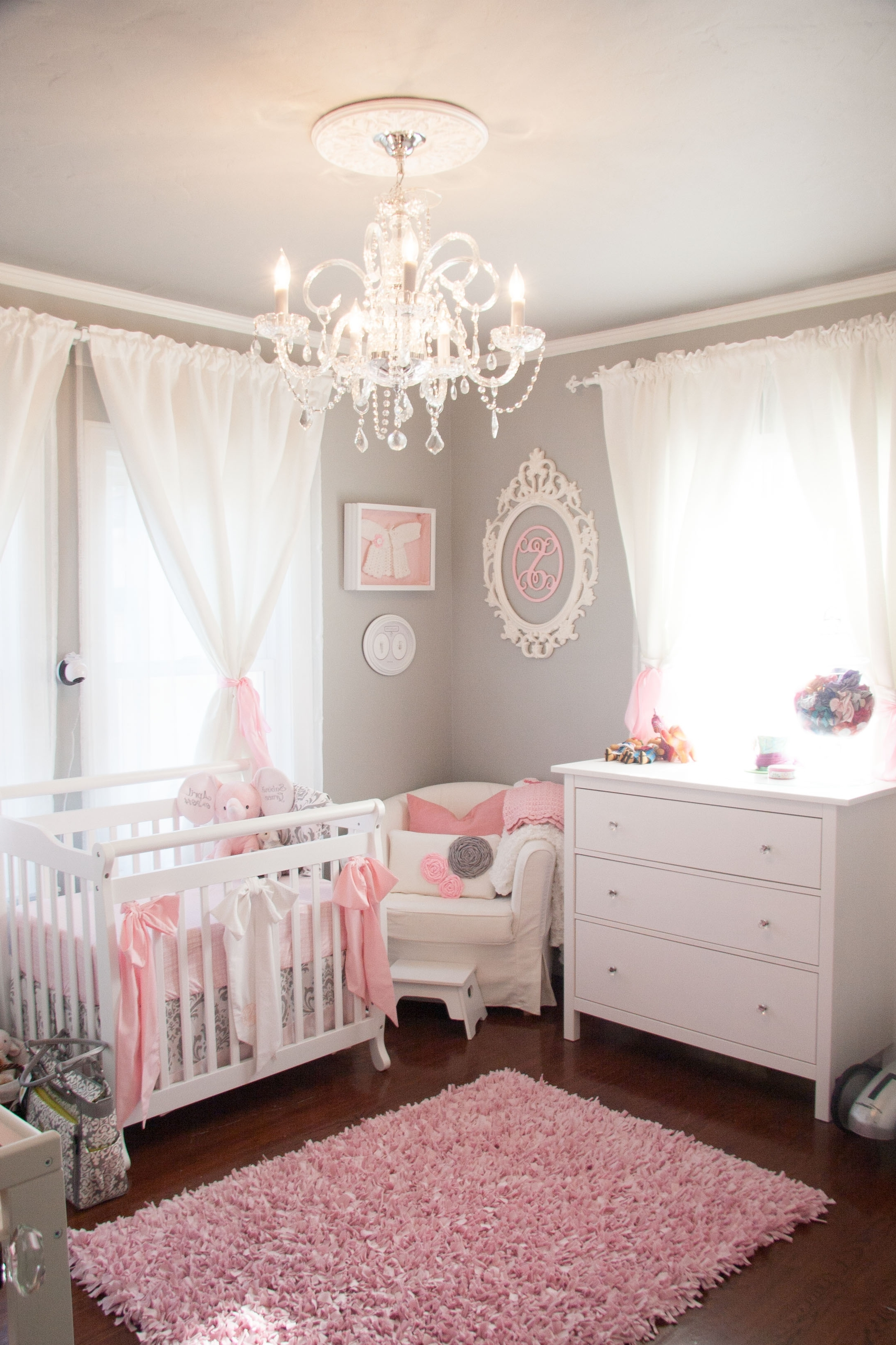 Favorite Tiny Budget In A Tiny Room For A Tiny Princess – Project Nursery Intended For Chandeliers For Girl Nursery (View 6 of 15)