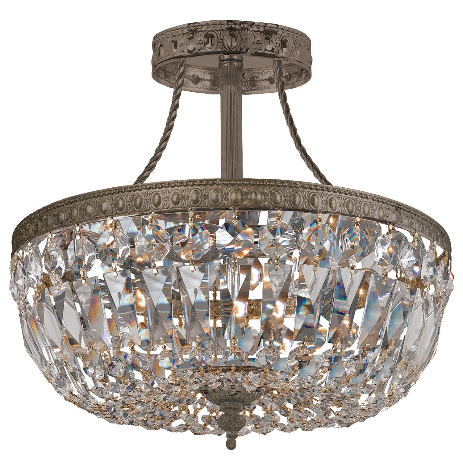 Favorite Traditional Crystal Antique Brass Semi Flush Ceiling Mount @sarah With 3 Light Crystal Chandeliers (View 10 of 15)